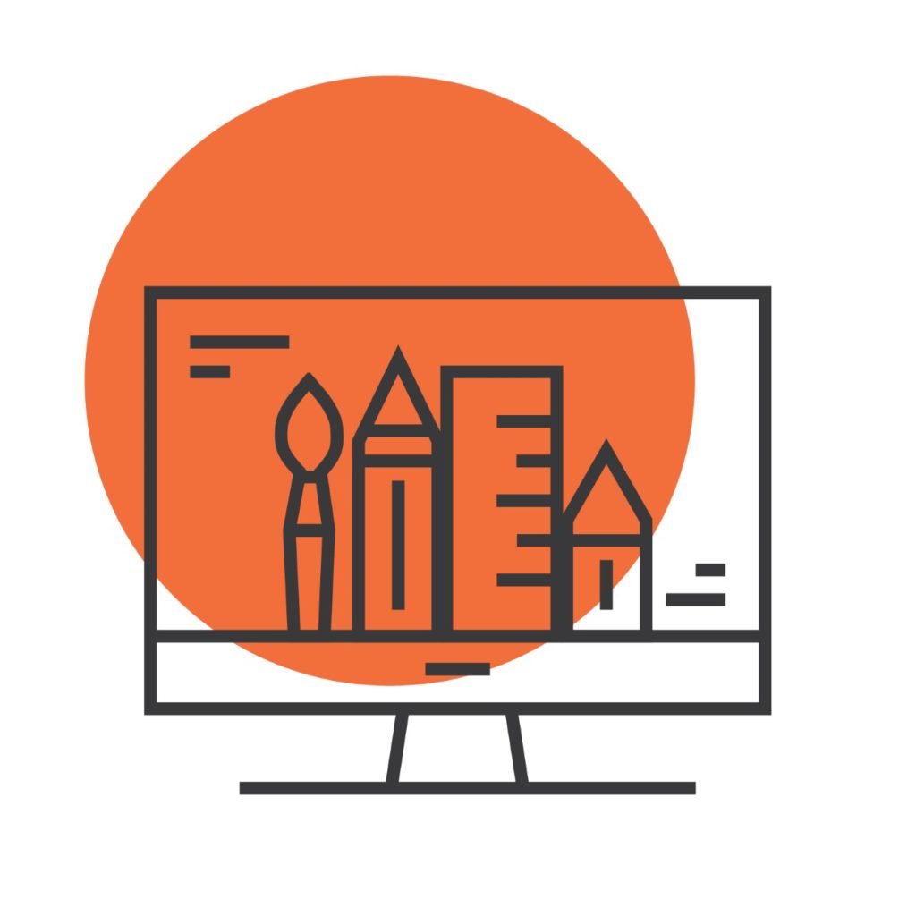 icon with computer and design tools