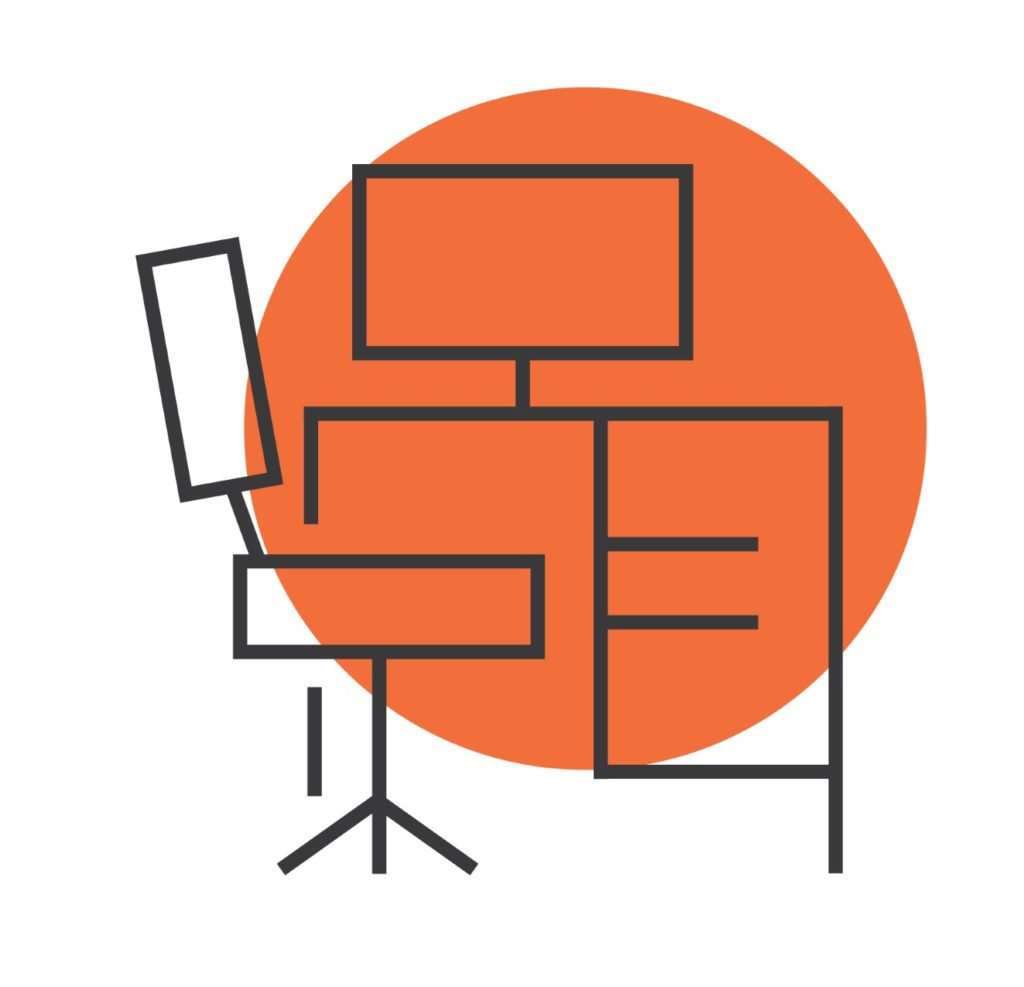 desk icon with computer and orange circle