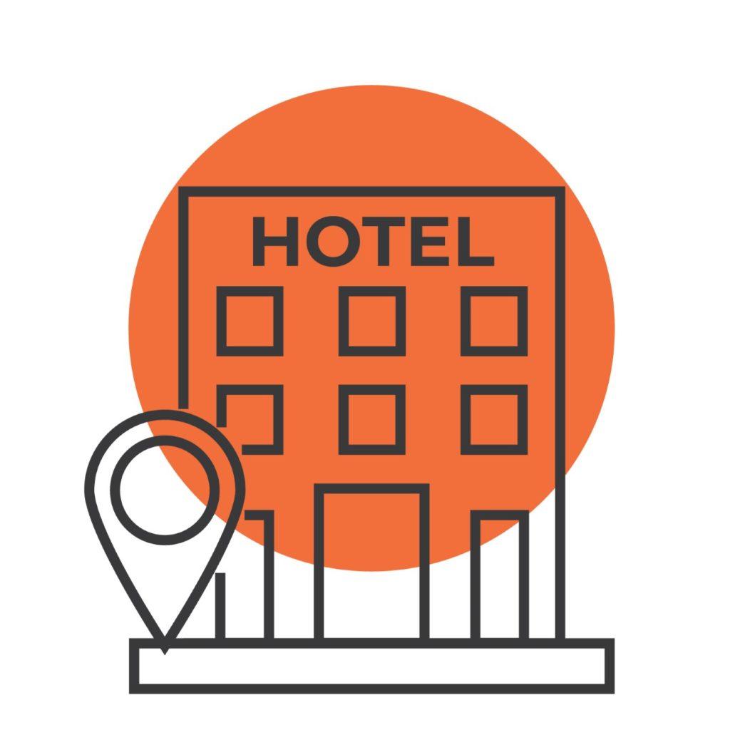 hotel ιcon tourismos with orange circle