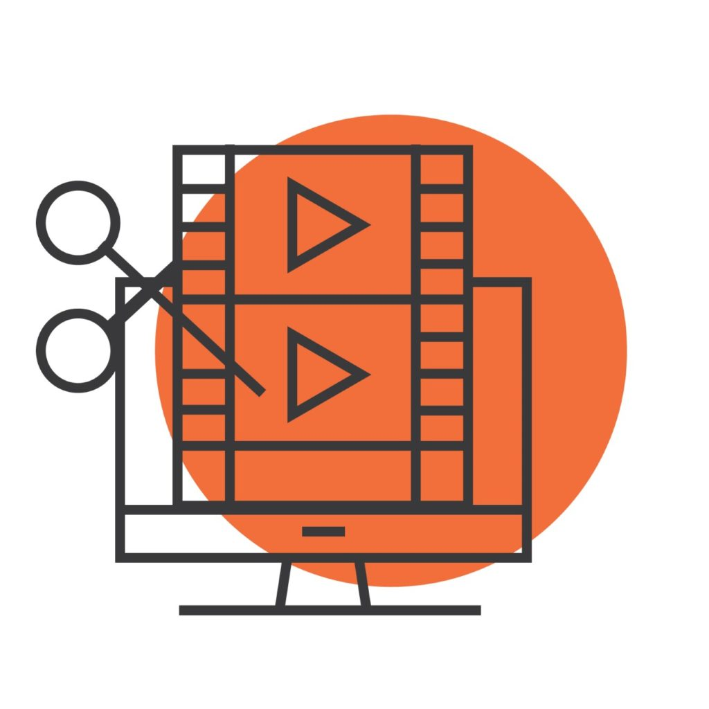 video-editing-icon with orange circle
