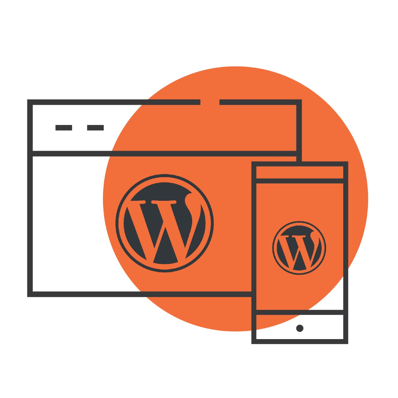 wordpress logo on a pc and on a smartphone with orange circle