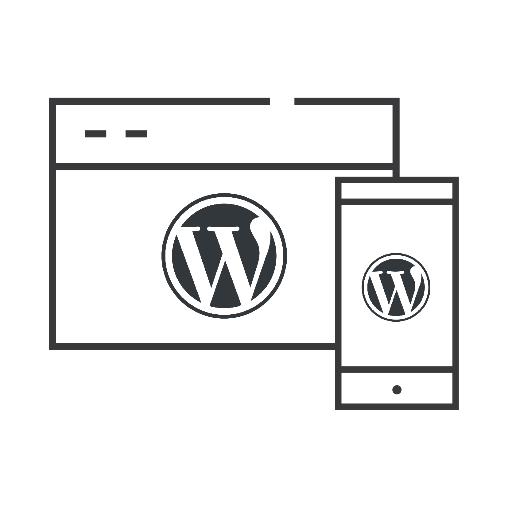 wordpress logo on a pc and on a smartphone