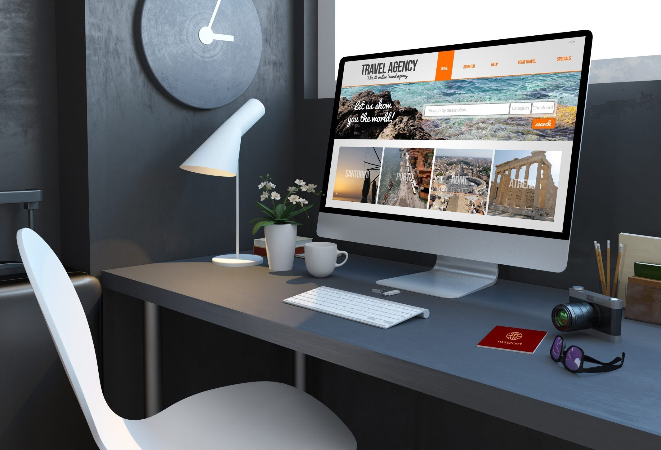 navy desktop with travel accesories agency website computer 3d rendering mockup scaled e1631902333835